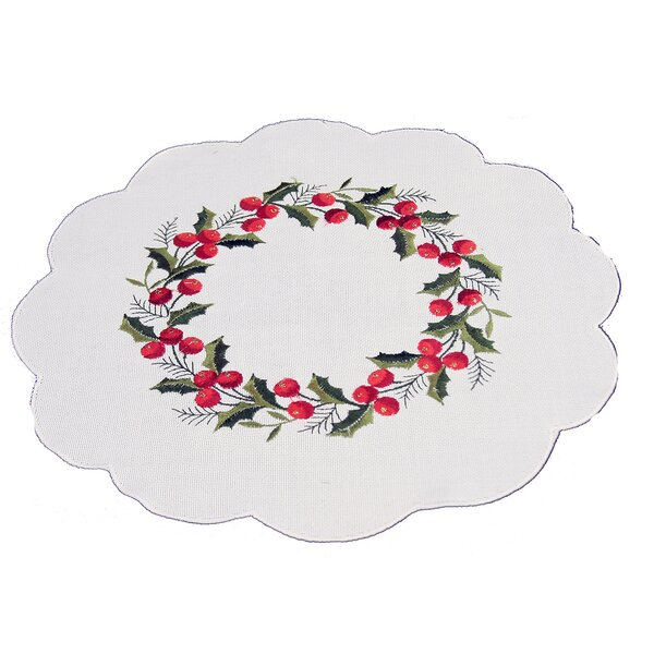 Holly Berry Embroidered Hemstitch Round Holiday Doily (Set of 4) by The Holiday Aisle