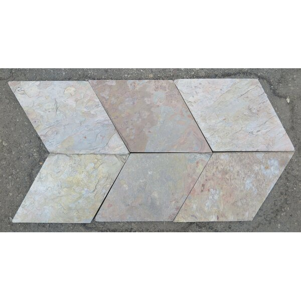 Multi Color Classic Natural Cleft Face, Gauged Back 8 Diamond (13 1/4x8) Slate Field Tile