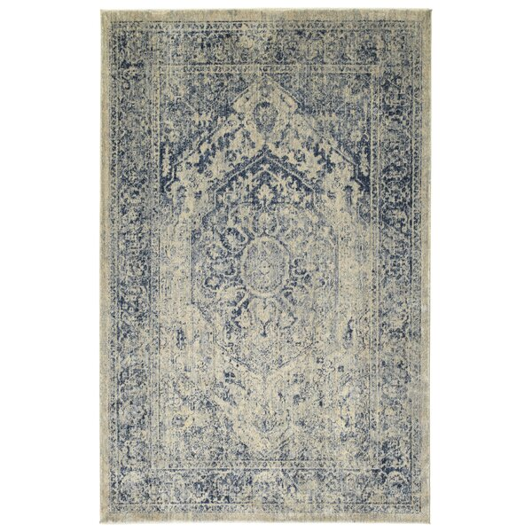 Jada Oriental Denim/Linen Area Rug by Bungalow Rose