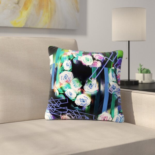 Dawid Roc Cool Roses-Floral Stripes Outdoor Throw Pillow by East Urban Home