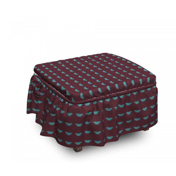 Wings On Dark Ottoman Slipcover (Set Of 2) By East Urban Home
