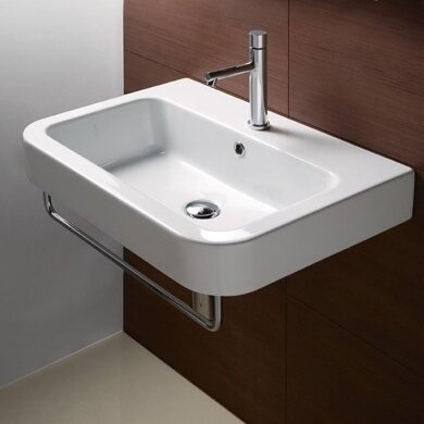 """Traccia Ceramic 26"""" Wall Mount Bathroom Sink with Overflow"""