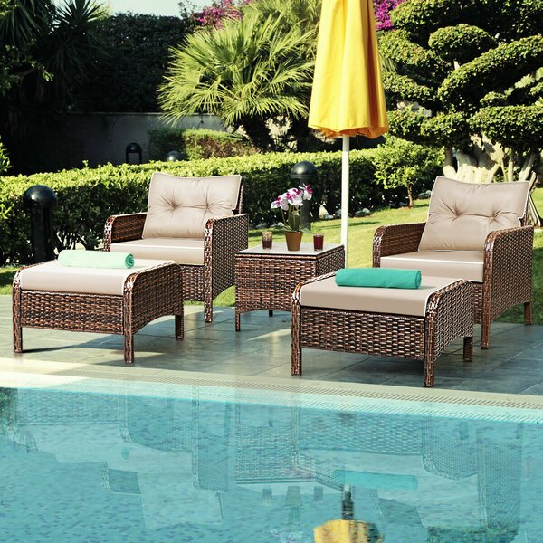Mariela 4 Piece Rattan Sofa Seating Group with Cushions by Bay Isle Home