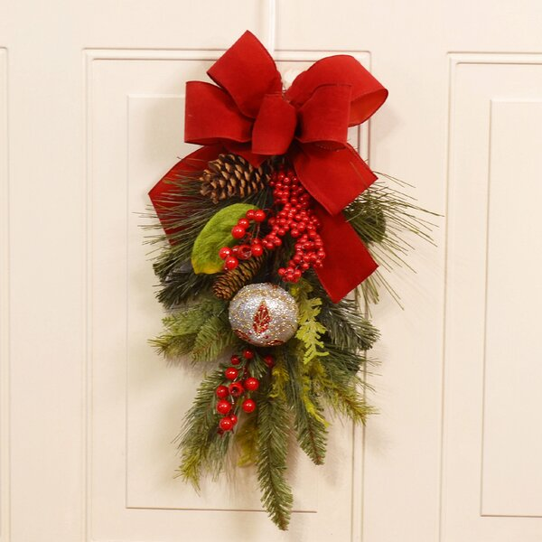 Christmas Pine and Berry Door Swag by Floral Home Decor