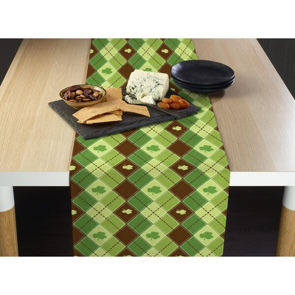 Estes Lucky Shamrock Argyle Table Runner by The Holiday Aisle