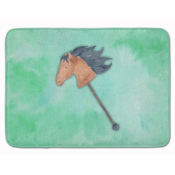 Yvette Stick Horse Watercolor Memory Foam Bath Rug by Zoomie Kids