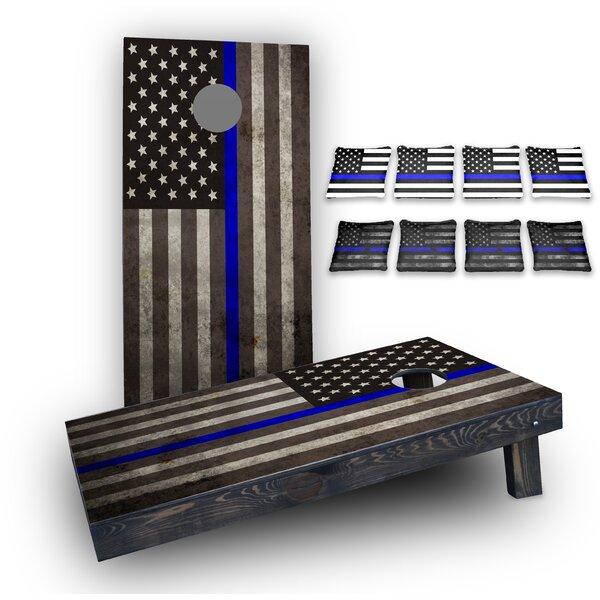 Thin Blue Line American Flag Custom 10 Piece Cornhole Board Set by Custom Cornhole Boards