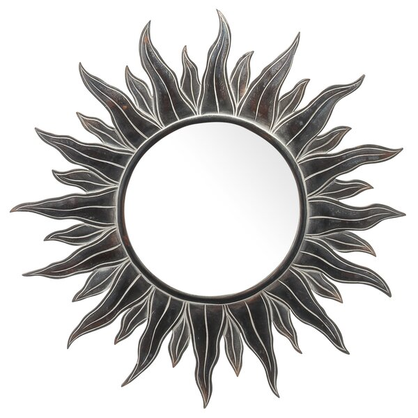 Rosario Antiqued Sun Accent Wood Wall Mirror by Bloomsbury Market