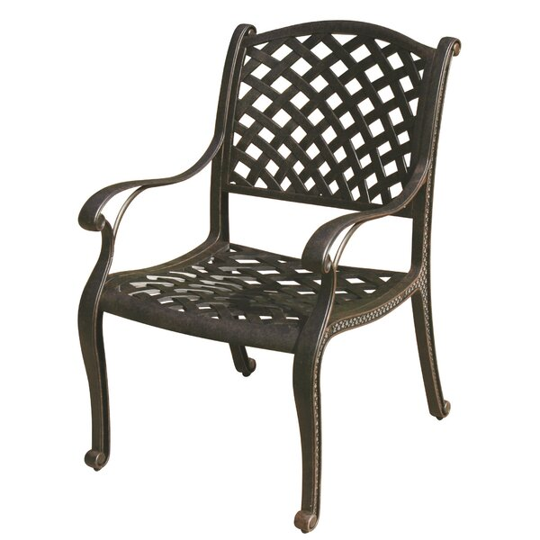Lincolnville Stacking Patio Dining Chair with Cushion by Fleur De Lis Living