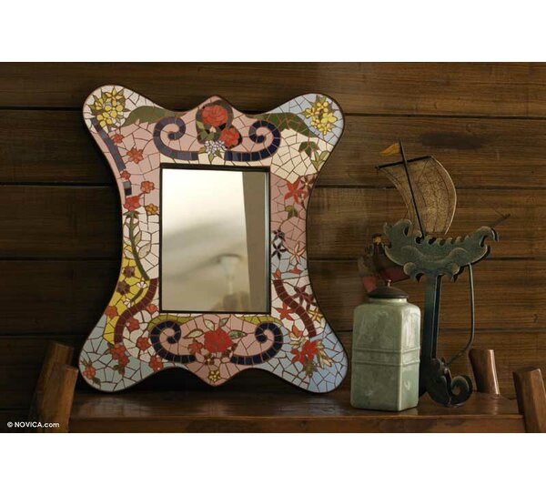 Rose Garden Mosaic Wall Mirror by Novica