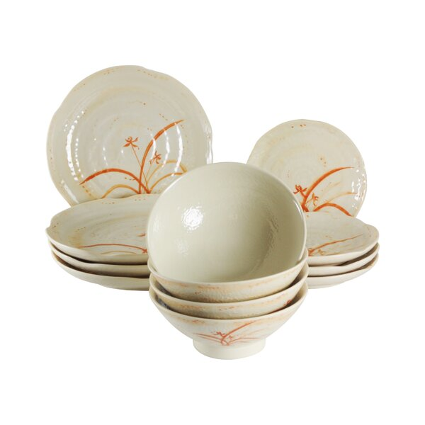 Bridgham Orchid Melamine 12 Piece Dinnerware Set, Service for 4 by Charlton Home