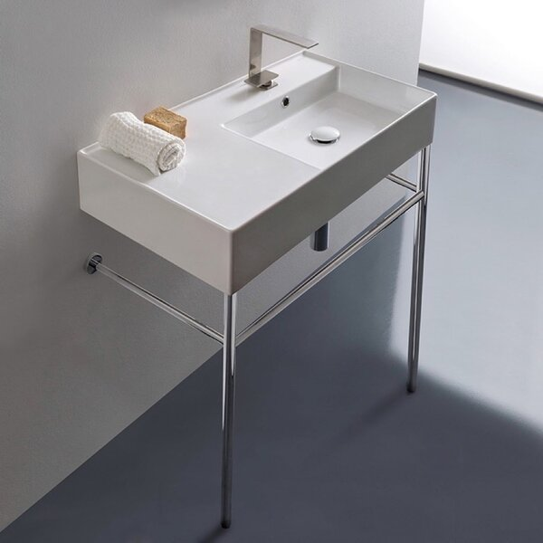 Ceramic 32'' Console Bathroom Sink with Overflow by Scarabeo by Nameeks