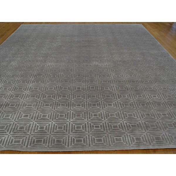 One-of-a-Kind Belton Geometric Handwoven Grey Wool/Silk Area Rug by Isabelline