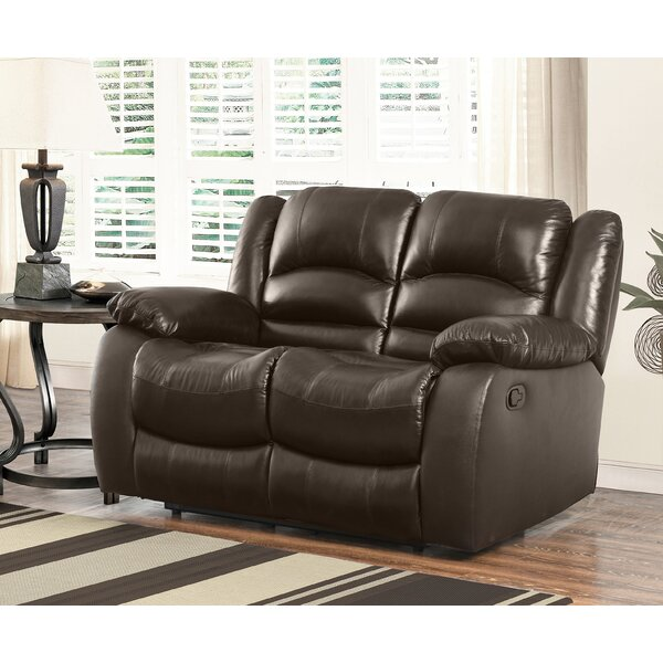 Jorgensen Leather Reclining Loveseat by Darby Home Co