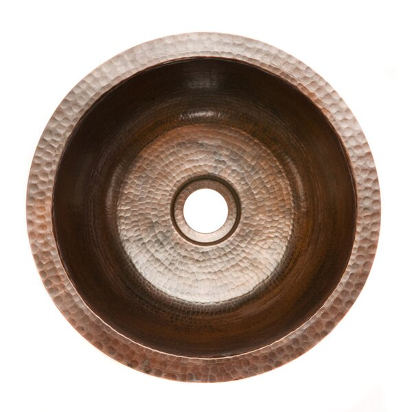 14 L X 14 W Round Hammered Copper Bar Sink By Premier Copper Products.