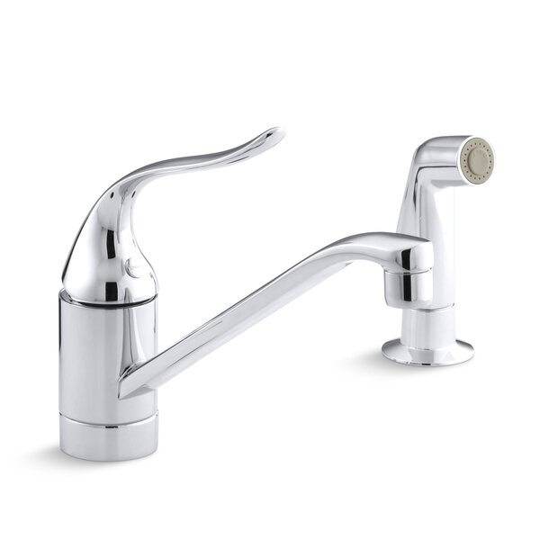 Coralais Two-Hole Kitchen Sink Faucet with 8-1/2 Spout, Matching Finish Side-Spray and Lever Handle
