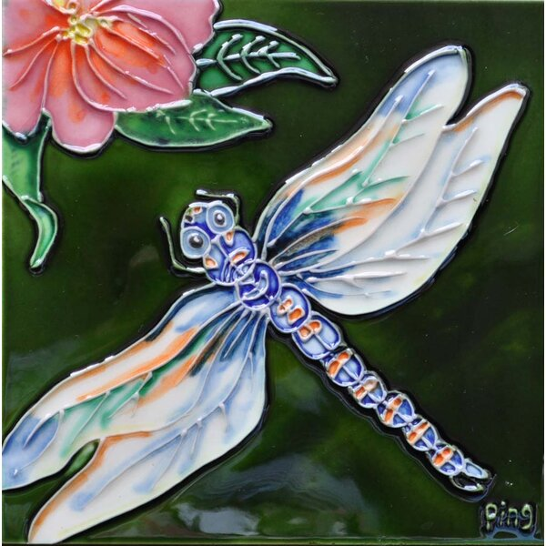 Dragonfly Pink Flower Tile Wall Decor by Continental Art Center