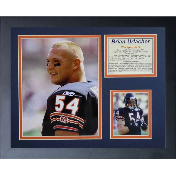 Brian Urlacher Portrait Framed Photographic Print by Legends Never Die