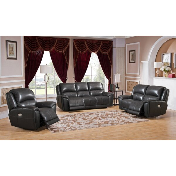 Mikel Reclining 3 Piece Leather Living Room Set by Red Barrel Studio