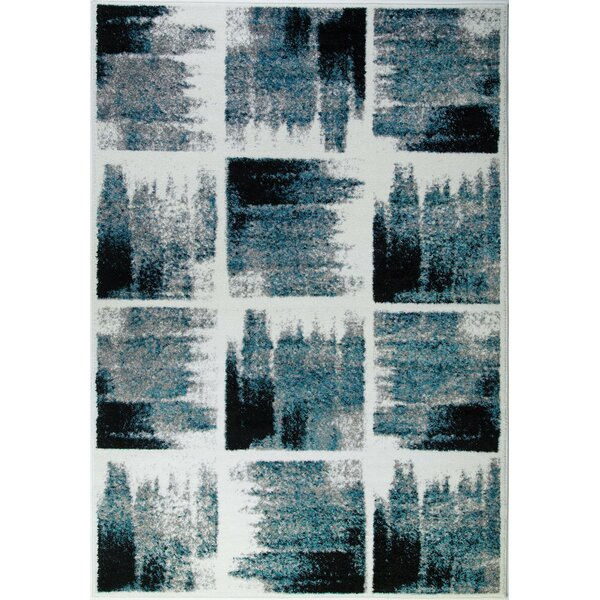 Pangkal Pinang Teal/Black Area Rug by Wrought Studio