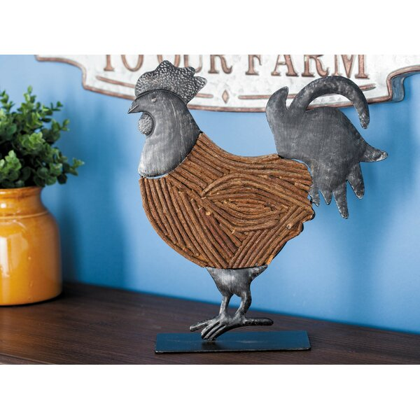 Metal/Wood Rattan Rooster Figurine by Cole & Grey