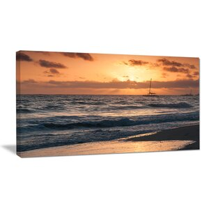 Colorful Sunrise Over Atlantic Ocean Photographic Print on Wrapped Canvas by Design Art
