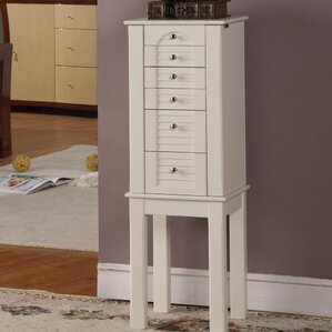Glouster Jewelry Armoire with Mirror in White by Alcott Hill