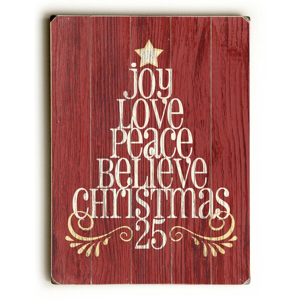 Joy Love Peace Tree Wooden Graphic Art Plaque by The Holiday Aisle