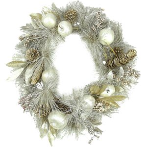 Glitter Pomegranate Apple Pine Cone and Berry Christmas Wreath with Unlit