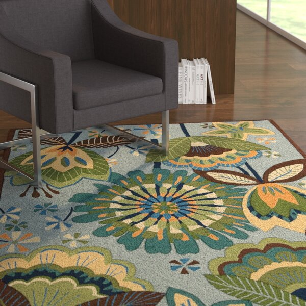 Mindy Hand-Hooked Green/Blue Area Rug by Latitude Run