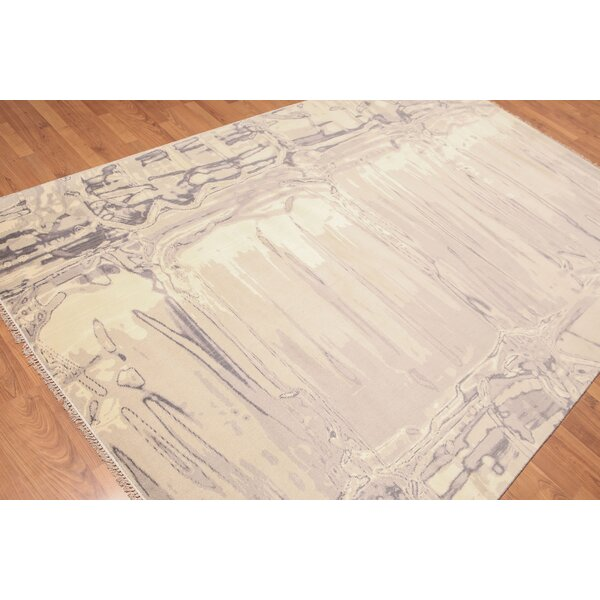 One-of-a-Kind Lemley Hand-Knotted Wool Ivory Area Rug by 17 Stories