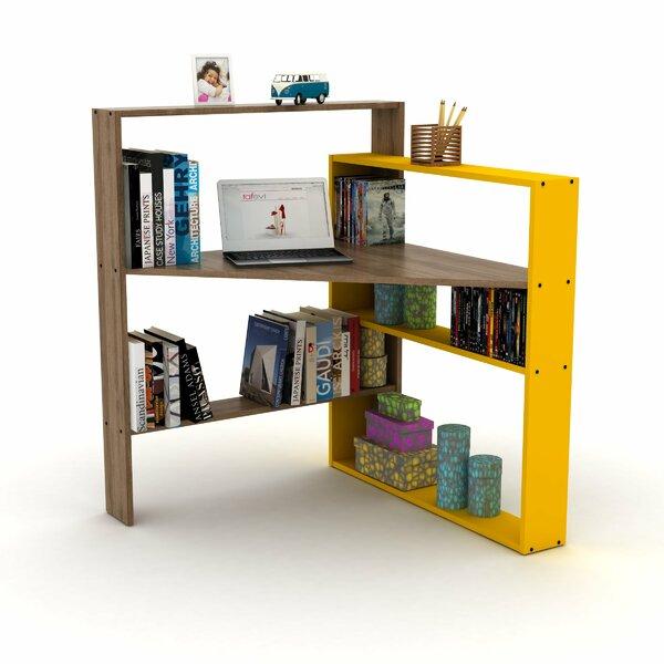 Millard Corner Desk With Bookcase, Walnut/Yellow