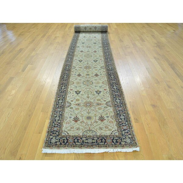 One-of-a-Kind Boydston Hereke Design Handwoven Beige Wool/Silk Area Rug by Isabelline
