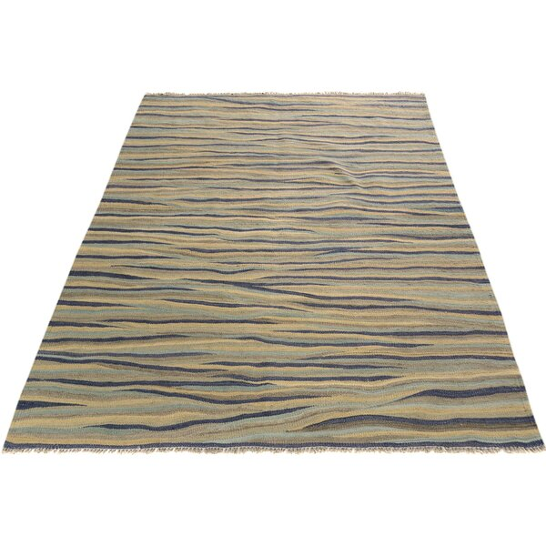 One-of-a-Kind Aalborg Kilim Hand-Woven Ivory/Blue Area Rug by Isabelline