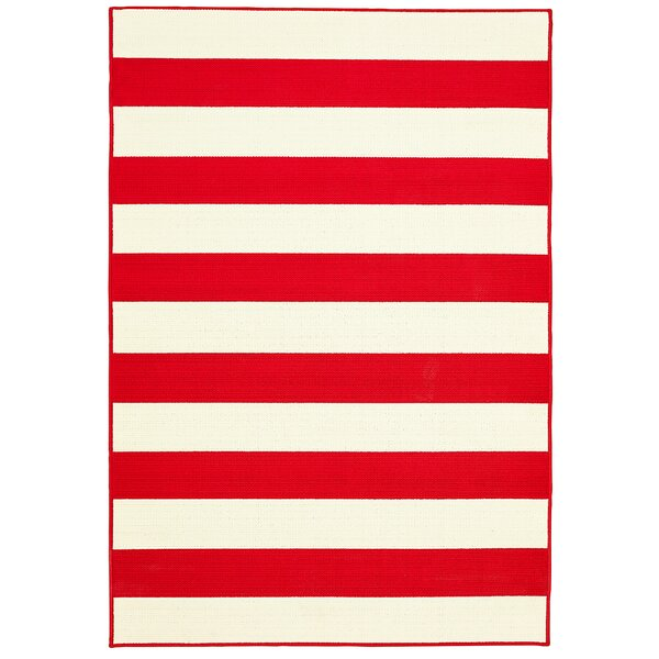 Deverick Stripe Summer Red/White Indoor/Outdoor Area Rug by Ebern Designs