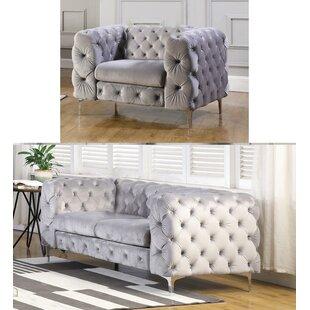 Rohrbach Velvet 2 Piece Living Room Set by House of Hampton®