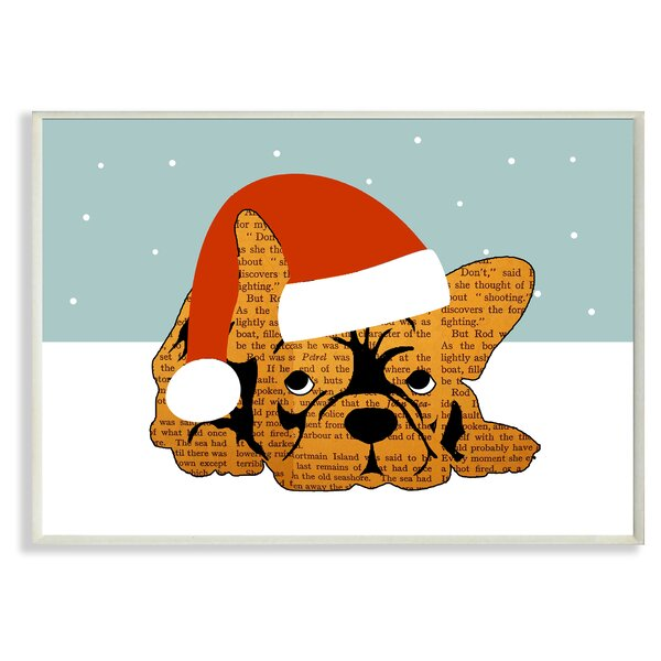 Puppy with Santa Hat Graphic Art Print by Stupell Industries