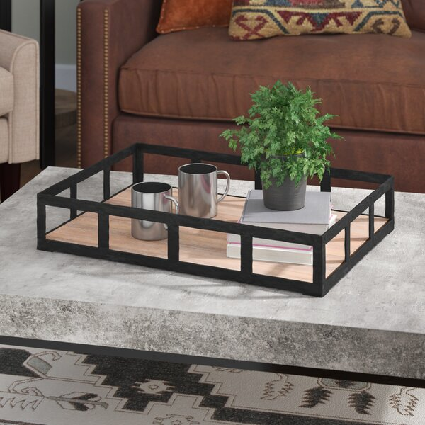 Ambrose Rectangle Black Iron Tray by Union Rustic