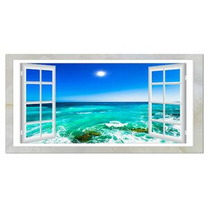 Open Window to Wavy Ocean Graphic Art on Wrapped Canvas by Design Art
