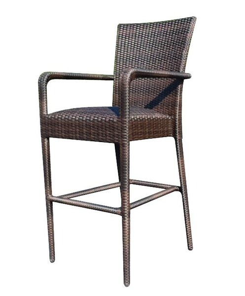 All-Weather Padded Seat 30 Patio Bar Stool with Arms by Woodard