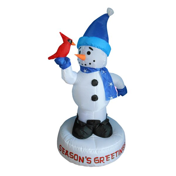 Christmas Inflatable Snowman with Bird Decoration by Three Posts