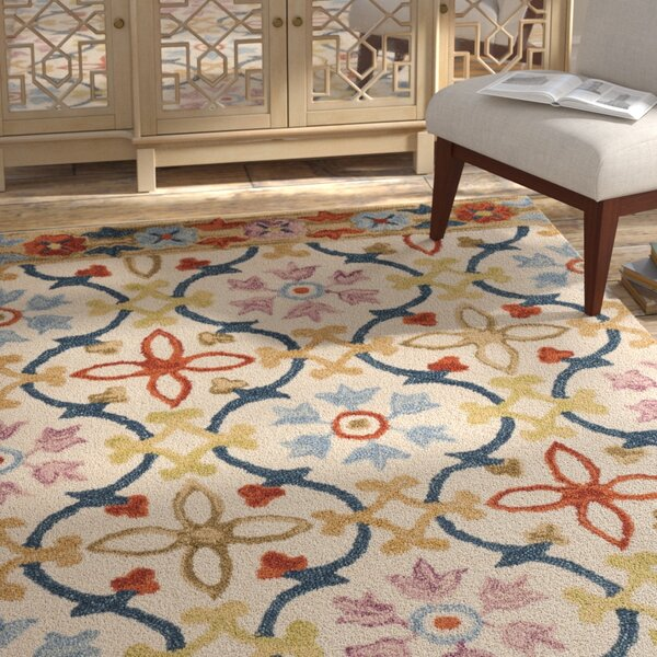 Talmo Hand Hooked Wool Ivory/Blue Area Rug by Bungalow Rose