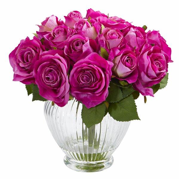 Rose Artificial Floral Arrangement in Elegant Glass Vase by Darby Home Co