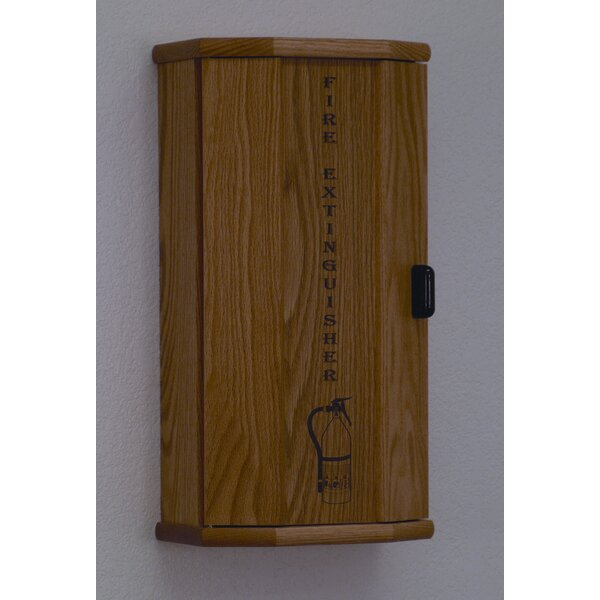 Fire Extinguisher Cabinet With Engraved Door Panel By Wooden Mallet.