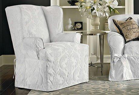 Deals Matelasse Damask T-Cushion Wingback Slipcover