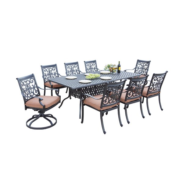Mccraney Traditional 9 Piece Dining Set with Cushions by Astoria Grand