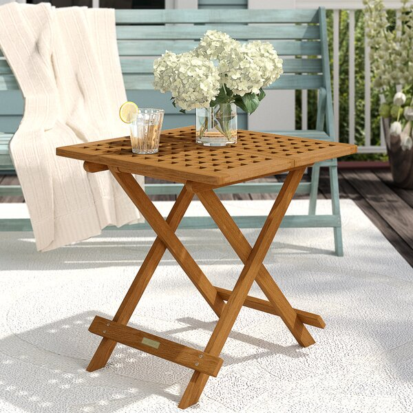 Rex Folding Wooden Side Table by Beachcrest Home