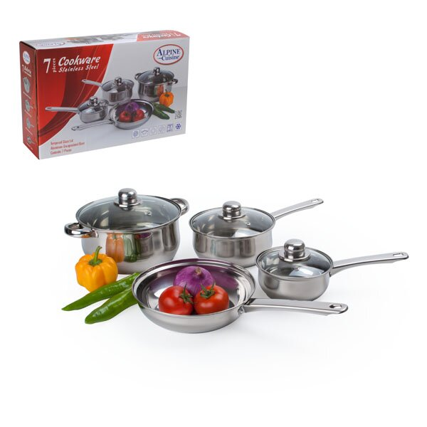 7 Piece Belly Shaped Stainless Steel Cookware Set by Alpine Cuisine