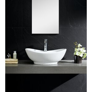 Modern Vitreous Large Oval Vessel Bathroom Sink With Overflow