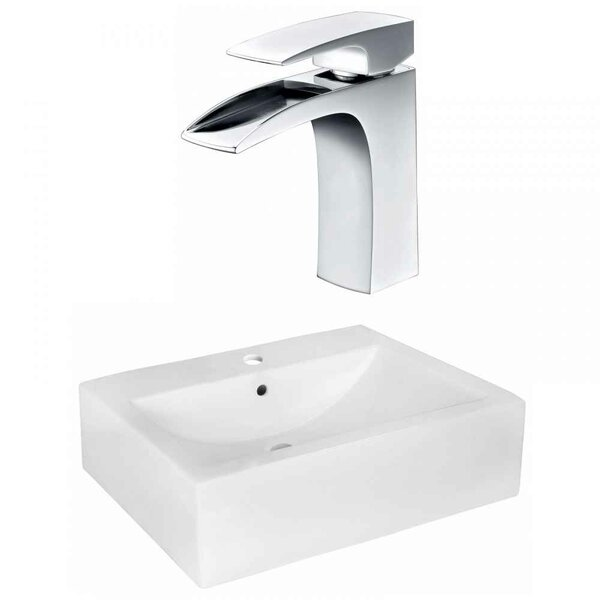 "Xena Farmhouse Semi-Recessed Ceramic 20.25"" Wall Mount Bathroom Sink with Faucet and Overflow by Royal Purple Bath Kitchen"